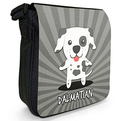 World cani dei cartoni animati-Borsa a tracolla in tela, piccola, colore: nero, taglia: S Nero (Dalmatian, Carriage Dog, Dal)