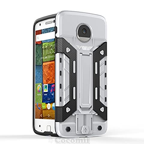 Motorola Moto Z / Z DROID Coque, Cocomii Transformer Armor NEW [Heavy Duty] Premium Built-in Multi Card Holder Kickstand Shockproof Hard Bumper Shell [Military Defender] Full Body Dual Layer Rugged Cover Case Étui Housse (Silver)