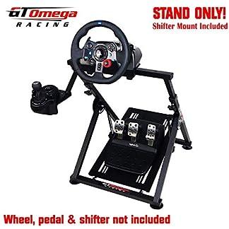 GT Omega APEX Soporte de Volante para Logitech Fanatec Clubsport Thrustmaster Rueda de Juego, Pedal y Montura de Palanca de Cambios, TX T500 T300 G29 G920, Plegable y Ajustable para consola de Juegos