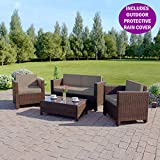 Abreo 4 Piece Rattan Garden Set 2 Seat Sofa, 2 ArmChairs Coffee Table