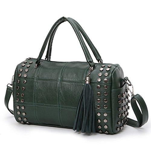 DHFUD Frauen Nieten Einfache Schulter Messenger Bag Green