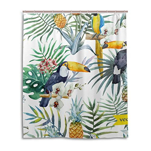 jstel Decor Vorhang für die Dusche Rainforest Leaf Blumen Flamingos Muster Print 100% Polyester Stoff Vorhang für die Dusche 152,4x 182,9cm für Home Badezimmer Deko Dusche Bad Vorhänge (Dusche Inner Liner)