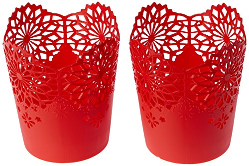 Nayasa Lacy 2 Piece Plastic Tall Basket Set, Red