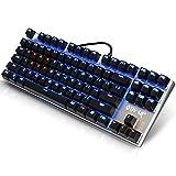 Mechanische Tastatur, blauer Schalter USB Wired Top Gaming Tastatur 87 Tasten Anti-Ghosting mit beleuchteten LED Multimedia-Hintergrundbeleuchtung Key Cap für Gamer Typists Programmierer - silberfarben