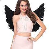 Engelsflügel Engel Flügel aus Federn Engel Fee Flügel Kostüm Damen für Weinachten Halloween Party Karneval Dekoration Cosplay (Erwachsene 55 * 40cm, Schwarz)