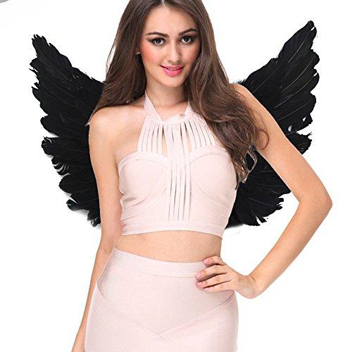Feder Kostüme Schwarzer (Engelsflügel Engel Flügel aus Federn Engel Fee Flügel Kostüm Damen für Weinachten Halloween Party Karneval Dekoration Cosplay (Erwachsene 55 * 40cm,)