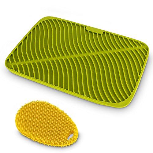 Belmalia Premium Silikon Geschirr-Abtropfmatte + ergonomischer Silikon-Schwamm, effektive Wellenform, Maxigröße: 44x32x1cm, Grün