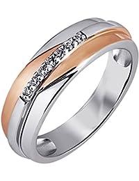 Goldmaid Damen-Ring 925 Sterlingsilber rot vergoldet 7 Zirkonia