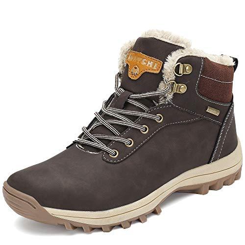 Pastaza stivali da neve uomo donna trekking scarpe inverno impermeabili outdoor pelliccia sneakers marrone,41eu