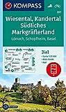 Wiesental, Kandertal, Südliches Markgräflerland: 3in1 Wanderkarte 1:25000 mit Aktiv Guide inklusive Karte zur offline Verwendung in der KOMPASS-App. Fahrradfahren. (KOMPASS-Wanderkarten, Band 897)