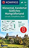 KOMPASS Wanderkarte Wiesental, Kandertal, Südliches Markgräflerland: 3in1 Wanderkarte 1:25000 mit Aktiv Guide inklusive Karte zur offline Verwendung ... (KOMPASS-Wanderkarten, Band 897) -