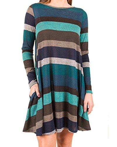 BIUBIU Damen Lose Streifen Sweatshirts Kleid Langarm Pullover Pulli Sweat Kleid Streifen-3