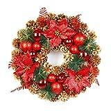 belupai Bunte Luxus Weihnachtskr?nze mit B?Gen Dekorationen Indoor Outdoor K¨¹nstliche Weihnachtskugeln Girlande F¨¹r Baum T¨¹r H?ngen (Red-40CM)