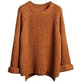 Eleery Fashion Women New Plain Oversized Round Neck Knitted Sweater Jumper Long Sleeve Cardigan Loose Top Sweatshirt Hoodie Outwear Knitwear (Coffee)