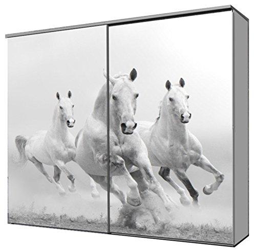 """fashion-cube maxi, Schwebetürenschrank, Frontdesign """"weiße Pferde"""", Maße ca. 212 x 208 x 65 cm"""