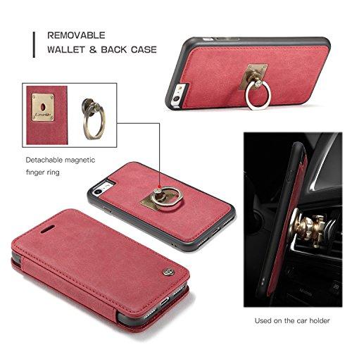 SDDMALL CaseMe Wallet Case mit abnehmbarem Slim Soft Back Case, CaseMe H Serie, Metall Leder, Vollschutz, Finger Ring Halter, Touchable Screen Leder Tasche für iPhone 7 ( Color : Coffe ) Red