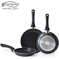 San Ignacio6810 Lot de 3poêles avec revêtement anti-adhésif granité en pierre de lave noire, fond approprié pour plaque de cuisson/cuisinière à induction, diamètre 16/20/24cm-