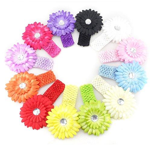 Tinksky 12pcs infantile bébé filles Daisy Flower clipser les accessoires Photo de bandeaux serre-tête élastique au Crochet