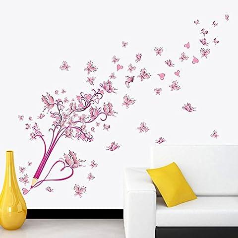 Pencil Pink Butterfly Flower Wall Sticker Living Room Bedroom Decal Women Lady Girls Teens Kids Children Removable Wall Art Murals Wallpaper