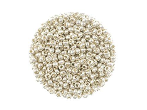 Creative-Beads böhmische Glasperlen, Rocailles, 2.6 mm, Metallfarben, 15 gr. Döschen, silberfarben um Schmuck, Deko, Armband selber zu machen oder basteln
