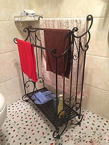Khskx européenne antique de salle de bain fer forgé Barres de serviette et de peinture en fer forgé, étagère de Placage multicouche