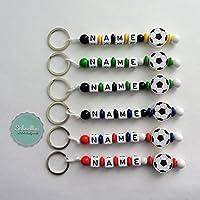 🔝 Schlüsselanhänger mit Namen Kinder Gravur Motivperle Fußball Schultasche Rucksack Kindergartentasche Schlüsselring Vereinsfarben mit Name | Junge Mädchen Namenskette