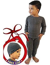 Hap Kings Round Neck Grey Melange Winter Thermal Set of Top Trouser & Matching Cap for Kids/Thermal for Boys and Girls/Kids Thermal Set