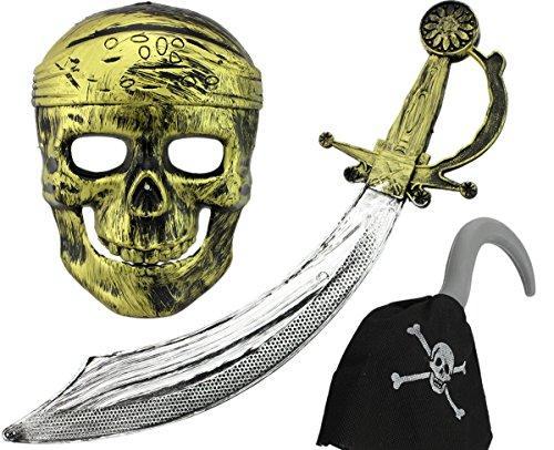 Preisvergleich Produktbild GYD Piratenset Set mit Schwert, Maske & Piratenhaken Kinder Set Seeräuber Kostüm für Fasching Karneval U.V.M.