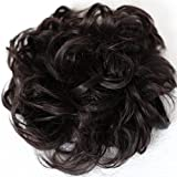 Prettyshop XXXL Haarteil Haargummi Hochsteckfrisuren, VOLUMINÖS, gelockter, unordentlicher Dutt dunkelbraun #2 HW21