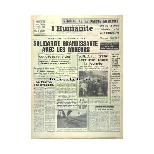 HUMANITE (L') du 13/03/1963 - SEMAINE DE LA PENSEE MARXISTE AVEC THOREZ - LES CONFLITS SOCIAUX - SOLIDARITE GRANDISSANTE AVEC LES MINEURS - LA SUITE DANS LES IDEES PAR WURMSER - LES SPORTS