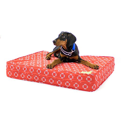 eLuxurySupply Orthopedic Dog Bed - 12 cm Thick | Supportive Gel Memory Foam - Made in the USA | 100% Cotton Removable Cover w/Waterproof Encasement | Fully Washable | Small, Medium & Large Dogs