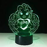 Yoppg 3D Illusion Lampe Led Nachtlicht Touch-Schalter 7 Farben Schreibtisch Optische Illusions Lampen Usb Or Batterie Betrieben Kind Weihnachtsgeschenk Liebe Gott