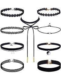 Set de Collares de Gargantilla Negro Set de Gargantilla de Encaje de Tatuaje de Terciopelo para Mujeres y Chicas, 9 Piezas