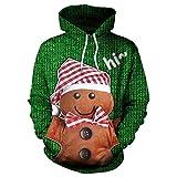 Herren Hoodie,TWBB Winter Weihnachten Bär 3D Drucken Mantel Mit Kapuzen Pullover Warme Sweatshirt Slim-Fit Lange Ärmel Oberteile
