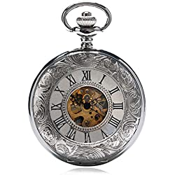 YISUYA Double Hunter Silver Men's Mechanical Hand Wind Pocket Watch Engraved Roman Numeral Father's Day Gifts