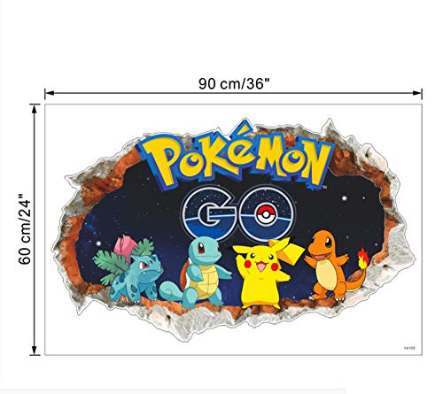 cartoon pikachu pokemon 3d wandtattoos für kinderzimmer wandkunst dekor pvc aufkleber diy abnehmbare poster jungen geschenk (Silber Pokemon-karte)