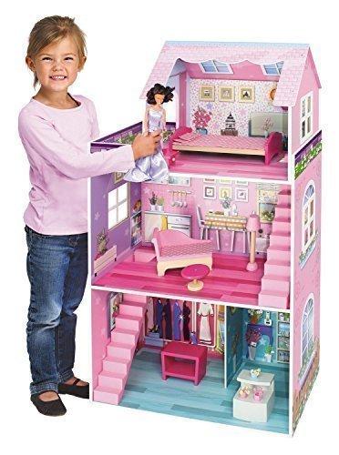 Jupiter riesengroßes Holz Puppenhaus rosa 3 Stockwerke 106 x 61 x 29 cm