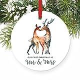 qidushop Liebe Hirsch Erste Weihnachten als Mr. & Mrs 2016 1st Married Christmas Rund Weihnachten Ornament Home Gift Weihnachten Dekoration Ideen