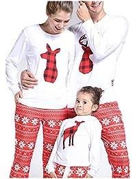 QinMM Conjunto de Pijamas de Navidad Familiar, Tops Camiseta Pantalones para Mujer y Hombre niño bebé niña (1-10 años), Manga Larga Ropa de Dormir, Ciervos Impresos