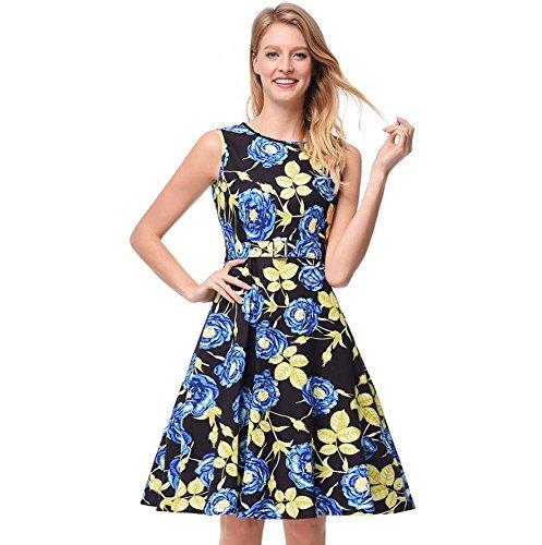 Women Floral Swing Midikleid Sweet Rundhalsausschnitt Ärmellos High Wiast OL Dress Elegant Gürtelreißverschluss A Line Skirt Rose Print Skaterrock EU Größe S-xxl ( Color : Blue , Größe : S )