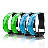 SAKUUMI LED Armband, 4-Pack Glow Bracelets Safety Light-Up Sports Wristband Ankle Reflective Strips with Ultra Bright LED for Running, Jogging, Outdoor Exercise & Activities, Dog Walking at Night