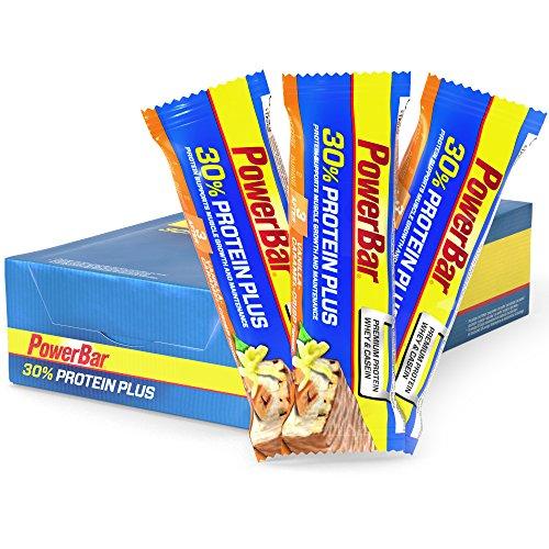 PowerBar Protein Riegel mit Casein, Whey und Sojaprotein – Eiweiß-Riegel, Fitness-Riegel reich an Ballaststoffen – 15 x 55g Caramel-Vanilla-Crisp (Versorgt Radfahren)