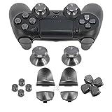 Full Metal Bullet Buttons für PS4Controller, cocotop Aluminium-Ersatzknöpfe Thumbsticks Daumengriff, (Oberfläche in Tasten, D-Pad, L1R1L2R2Trigger Tasten für PS4PS4Slim PS4Pro Controller, grau