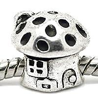 Charm Buddy Ladies Childrens Fairytale Mushroom House Toadstool Charm Bead for Charm Bracelets