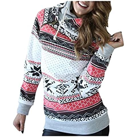 Baonoop_Mujeres de manga larga de Navidad Sudadera con capucha Jumper suéter