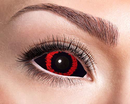 ra Kontaktlinsen für 6 Monate, 2 Stück, BC 8.6 mm, 22mm, Red Demon, in Markenqualität, für Halloween, Fasching, Karneval, rot/schwarz ()