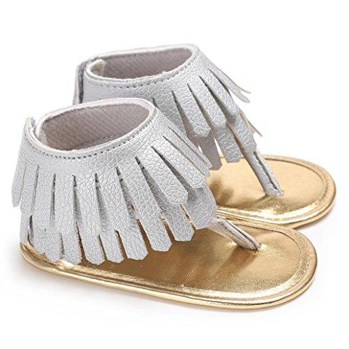 squarex, und die Schuhe für 0–18Monate Baby Mädchen Sandalen Neugeborene Blume, weiche Sohle Krippe rutschfest Turnschuhe 0-6 Months grau