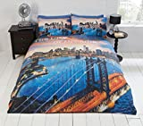 American Flagge Thema Bettbezug Set Bettwäsche Set New York City Skyline Bettbezug, Polycotton, CITY OF DREAMS, Einzelbett