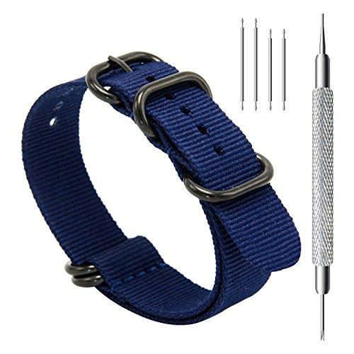 CIVO Uhrband Heavy Duty G10 Zulu Militär Uhrenarmband NATO Premium Ballistisches Nylon Uhr Armband 5 Schwarze Ringe mit Edelstahl Schnalle 20mm 22mm 24mm (navy blue, 24mm) (Canvas Schnalle Schwarze)
