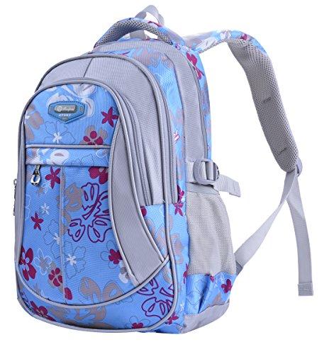 Schulrucksack, Coofit Schultasche Schulranzen Vintage Blumen Sportrucksack für Mädchen Jungen Jugendliche Blue